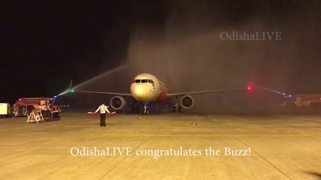 Air Asia maiden Flight receives Water Salute as welcome at Bhubaneswar Airport